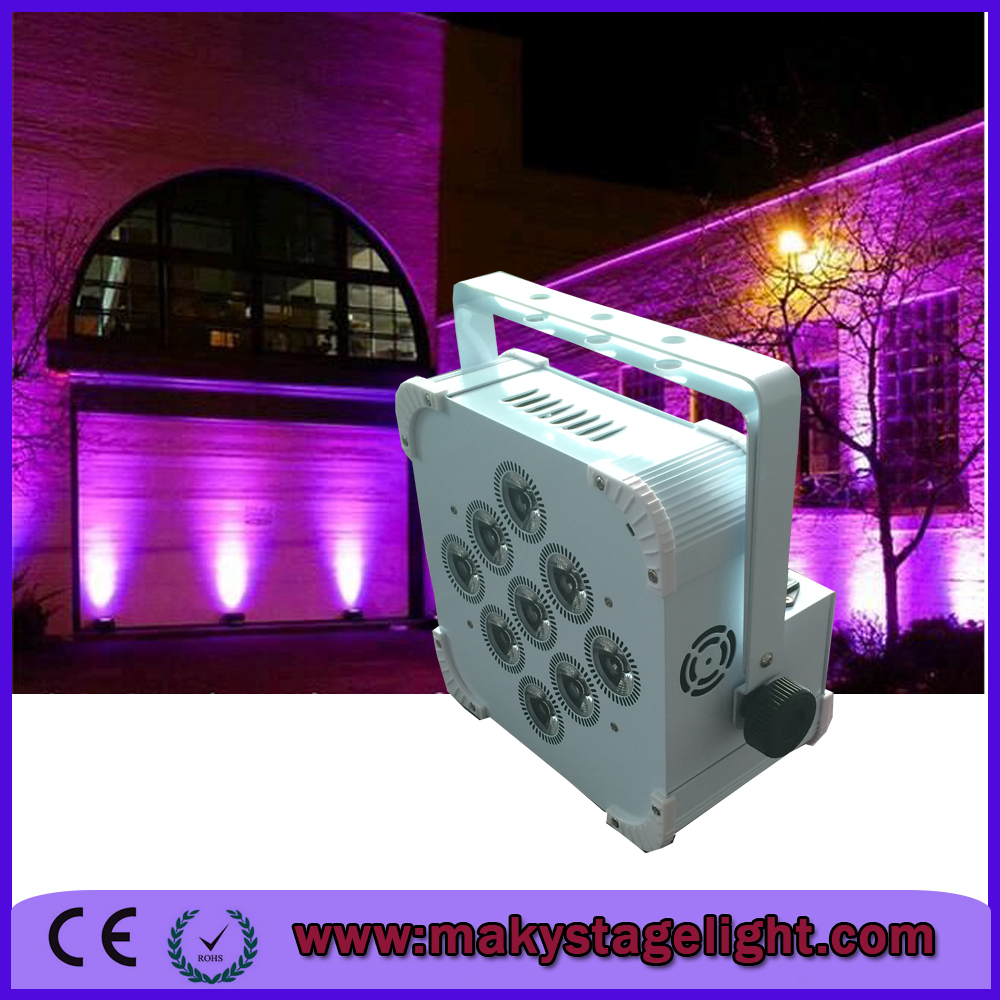 Amazing effect of battery power & wireless dmx LED par can 9*18W RGBWA+UV 6in1 color battery operated led light