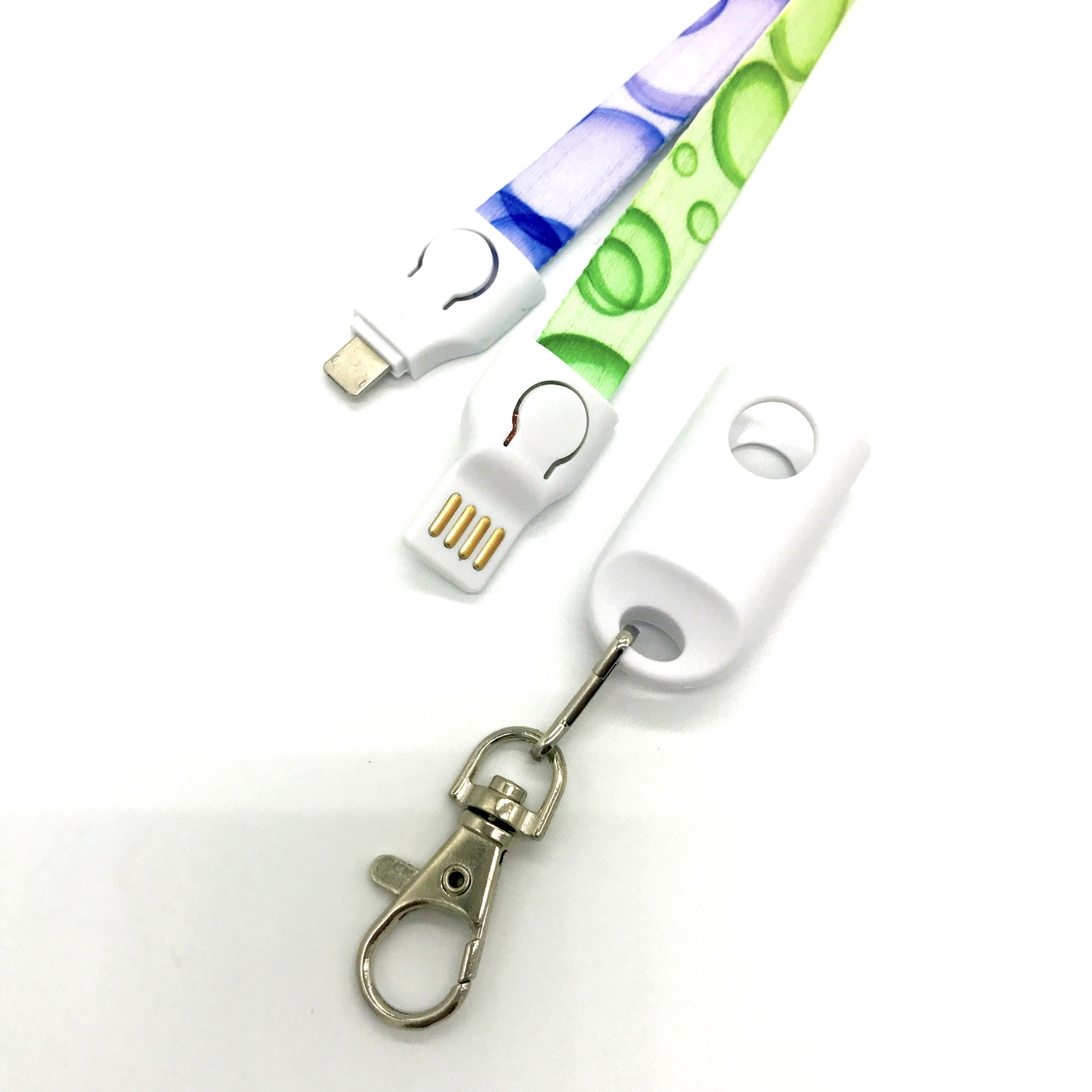 Custom polyester usb cable lanyard for phone charge