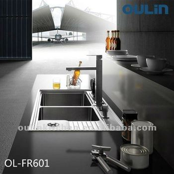 OULIN double drain board kitchen sinks stainless steel (OL-FR601)