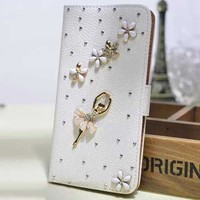 Crystal Ballerine Rhinestone Jeweled Embellished Leather Wallet Flip Stand Cover Case for iphone 6