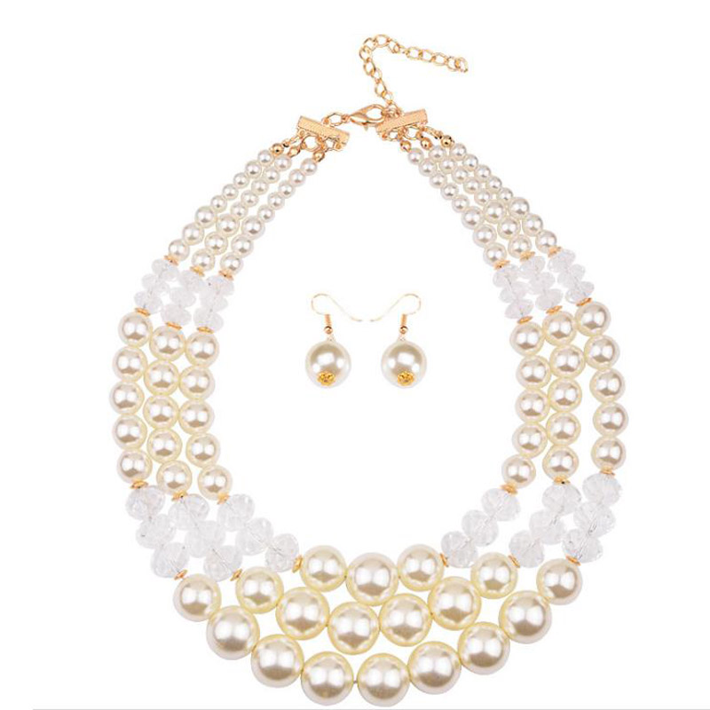 Wholesale artificial imitation pearl bead necklace and earring set