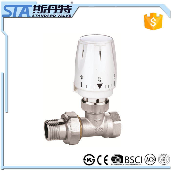 "ART.5034 Dn15 1/2"" inch automatic brass angled trv set thermostatic radiator valve fast supplier for solar water heater system"
