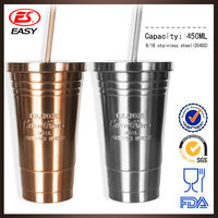 Wholesale DS801 Hot sale personalize double wall travel stainless steel straw coffee tumbler