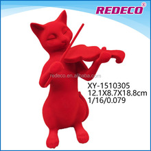 Wholesale resin red cat statues with flocking