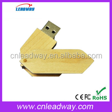 Wooden swivel USB promotional Pen Drive Wholesale cheapest secure usb storage With Custom Logo Print