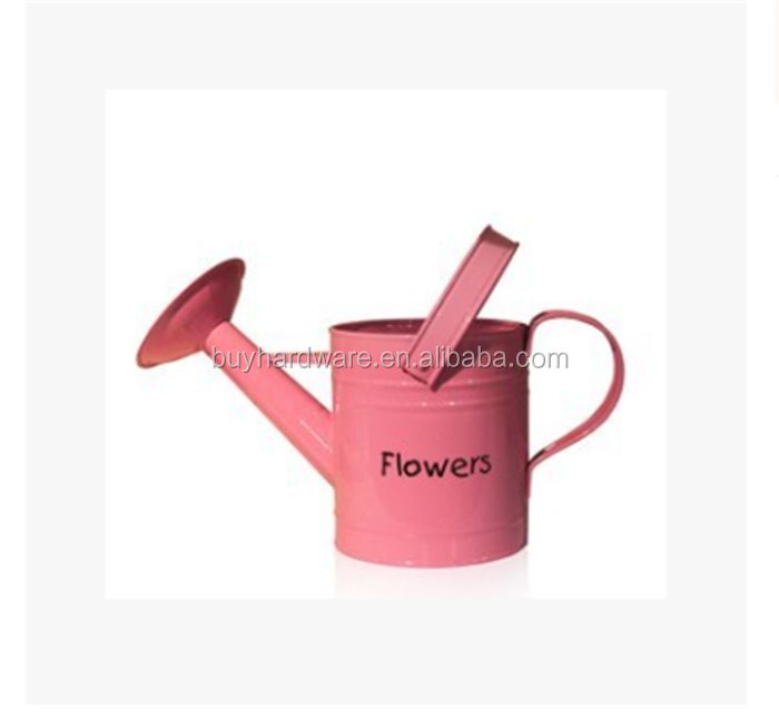 countryside loverly garden metal watering can ,Beautiful pink Flowers Galvanized steel watering can metal flowers pot