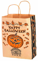 Fancy Halloween Brown kraft gift paper bags with handle for candy