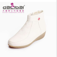 2015 elegant rubber sole plush leather winter white ankle boots woman