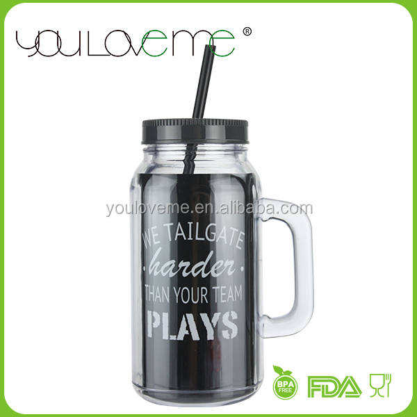 best sales product bulk buy from china plastic drinking mason jar manufacturer with handle and straw