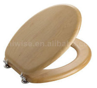 Solid Wood Toilet Seat With Chrome Hinges ,Moulded toilet seat cover, soft close MDF toilet seat cover