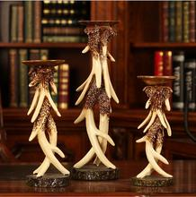 European antique animal anlter crafts resin candle holders for hot sale