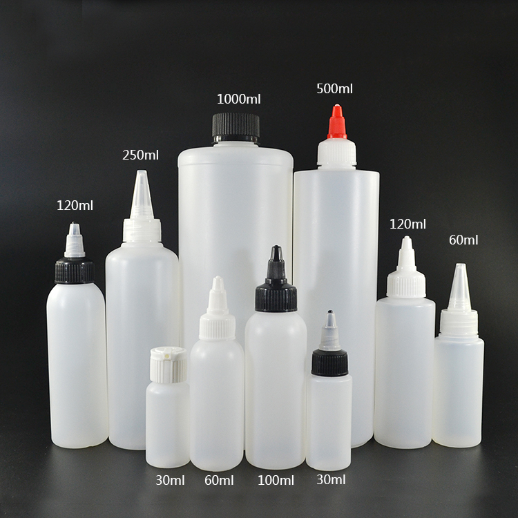Hot sale 30ml 60ml 100ml 120ml 250ml 500ml 1000ml PE plastic twist cap bottle for e liquid