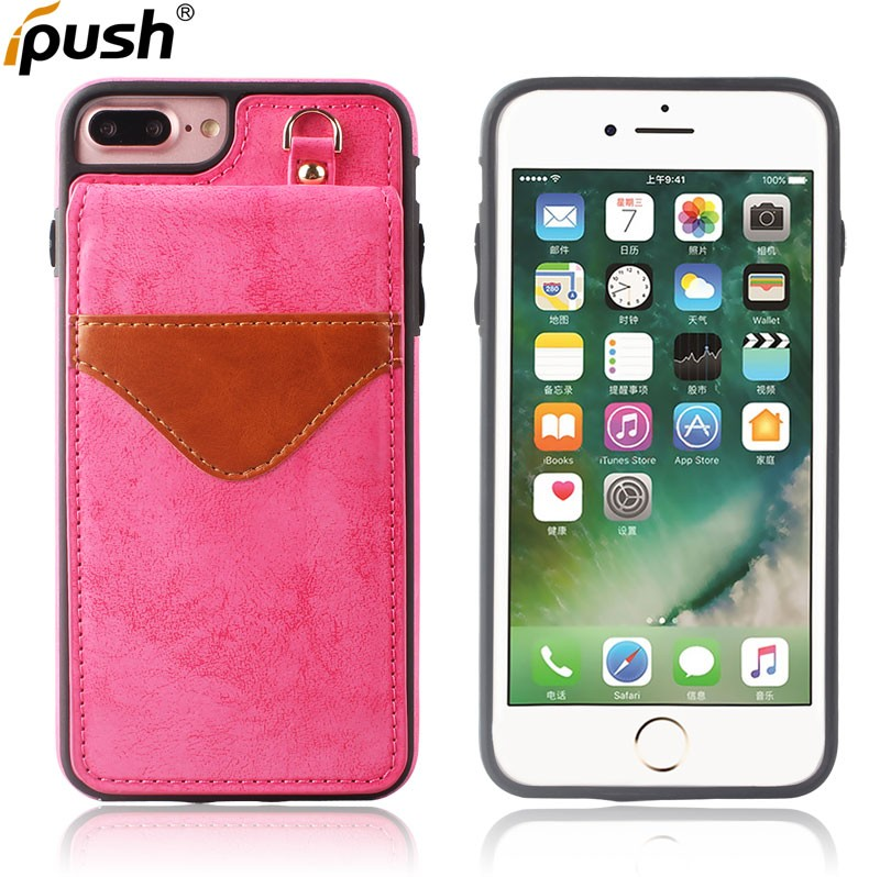 For iPhone 7 Plus Wallet Phone Case PU Leather Stand Flip leather case Mobile Phone Case with Mirror And Card Slot