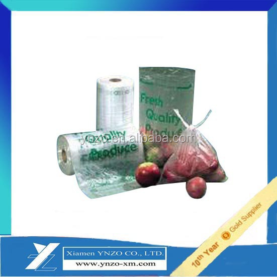 Clear plastic roll bags with perforation line for easy tear off