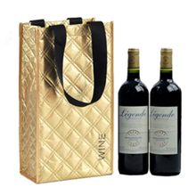OEM/ODM quilting sew laser non woven two bottles wine gift tote bag wholesale