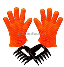 Silicone BBQ Gloves (1 Pair) + Bear Claw / Paw /fork(1 Pair) ,Bear Claw Meat Shredders and Heat Resistant Silicone BBQ gloves