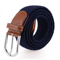 High Quality Custom Fabric Mens Braided Elastic Stretch Belts For Jeans