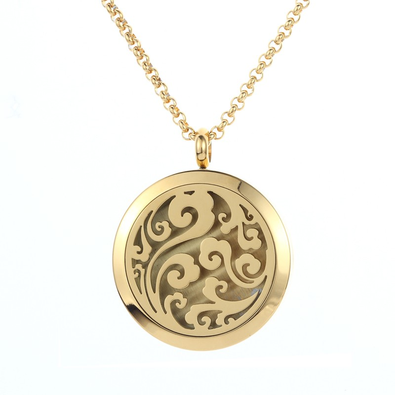 Surgical Grade 316L Stainless Steel Jewelry Gold Plating Aromatherapy Essential Oil Locket Pendant Diffuser Necklace