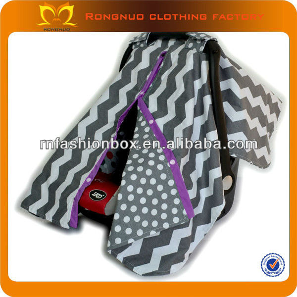 Wholesale funny grey and purple chevron cotton fabric baby seat covers graco infant car seat cover