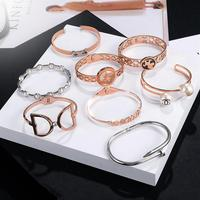 Wholesale Fashion Gold Plated Cuff Stainless Steel Bangle For Ladies