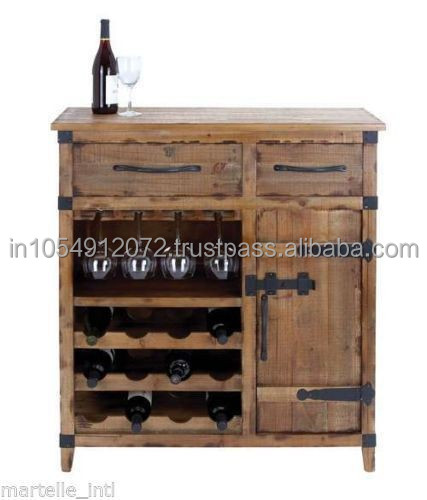 Reclaimed wood wine cabinet furniture