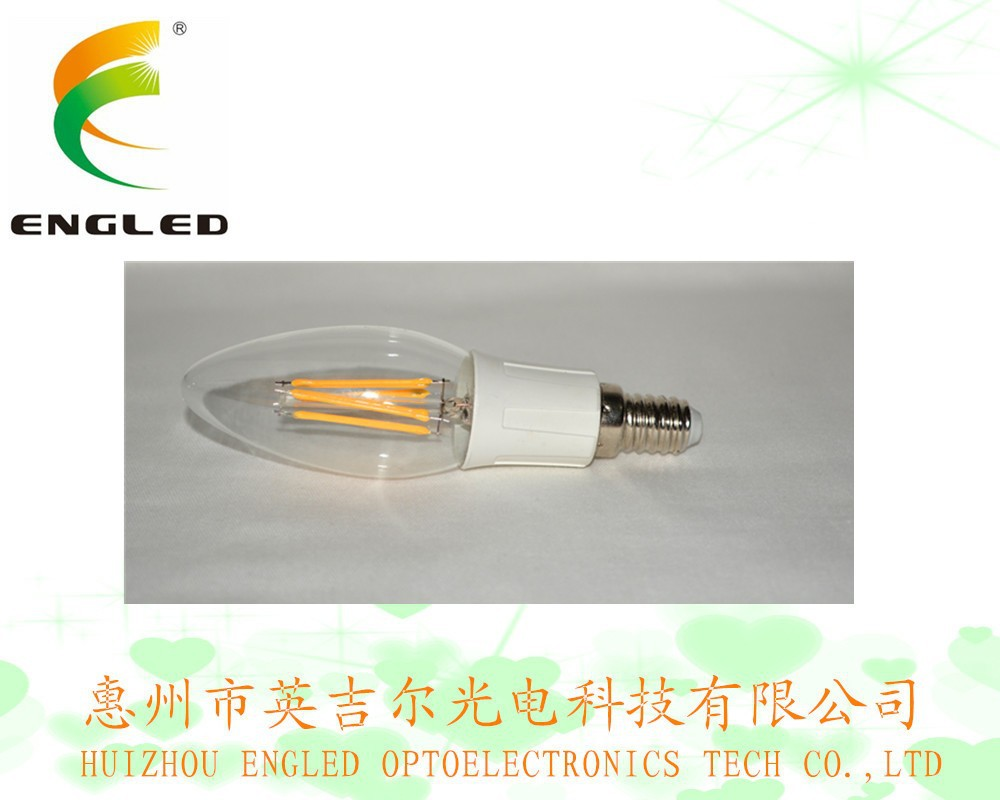 25000hrs lifespan energy star C35 E12 / E14 LED Filament light candle bulb price 4W 360 degree CE RoHS PSE GS FCC UL 338