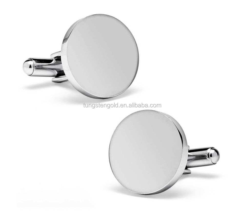 Round Cufflinks Blank Stainless Steel