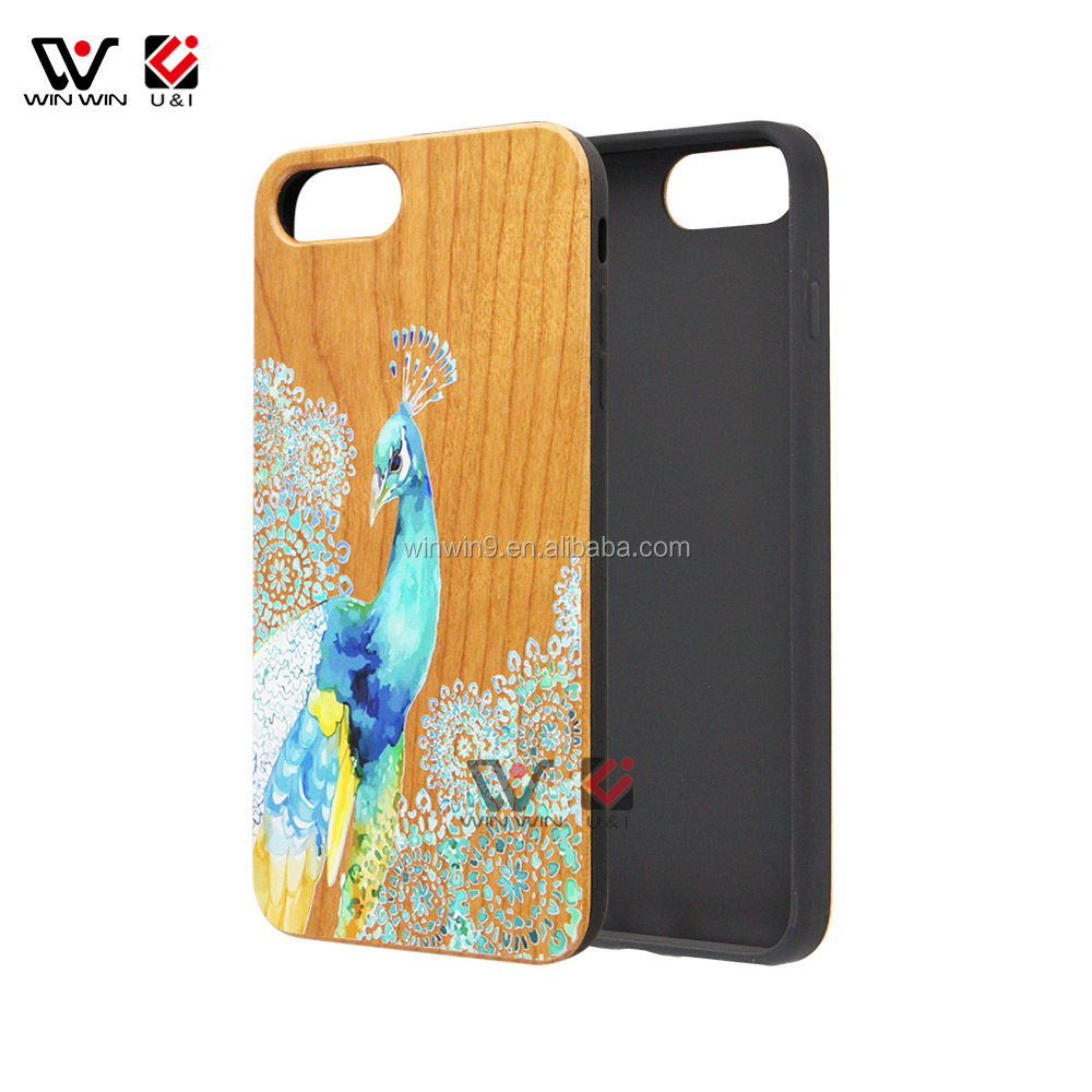 Wooden+PC Phone Case for iPhone 7 plus ,Wholesale Price Wood Phone Cover for iPhone, Cell Phone Accessories