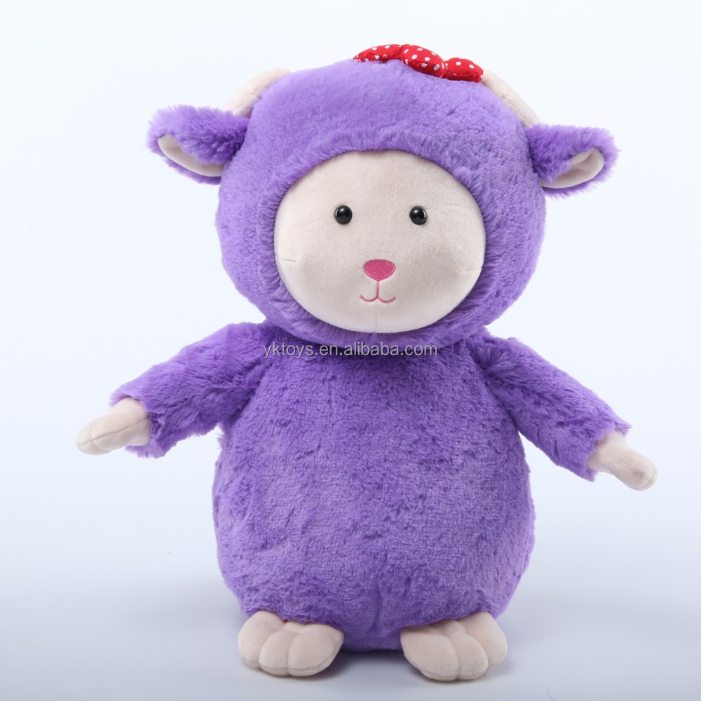 Customize purple cartoon sheep with red flower decoration soft plush stuffed animal toy