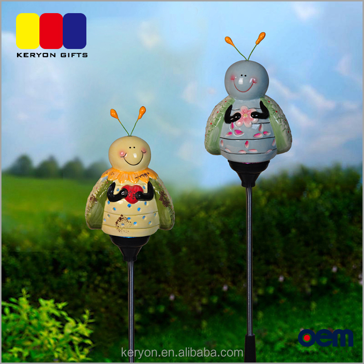 Ceramic Decorative Outdoor Bee Design Garden Stake