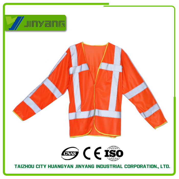 high visibility long sleeves reflective safety vest