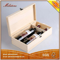 Portable Winebottle Storage Box Vintage Wood Wine Bottle Packaging Case Wth Handle