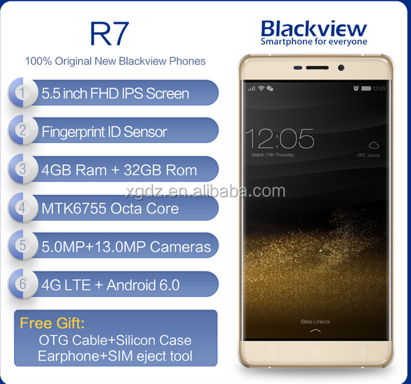Blackview R7 4G Mobile Phone 5.5 inch FHD MTK6755 Octa Core Android 6.0 4GB RAM 32GB ROM 13MP Fingerprint ID Smartphone