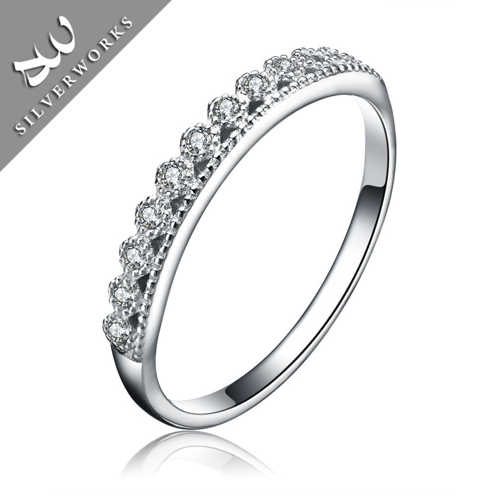 Pure 925 sterling silver jewelry wedding ring for girl