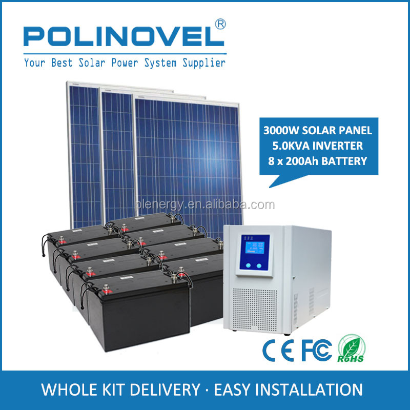110v 220v mobile home solar panel system 3kw with battery