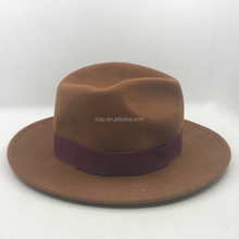 Fashion Vintage ladies custom wool felt mens fedora trilby hat wholesale