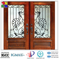 High quality fancy design cheap iron glass of wrought iron and glass doors gates