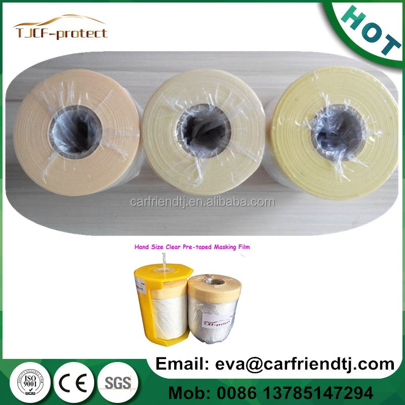 1.4mX20m Pre-Folded Masking Films roll with crepe paper tape