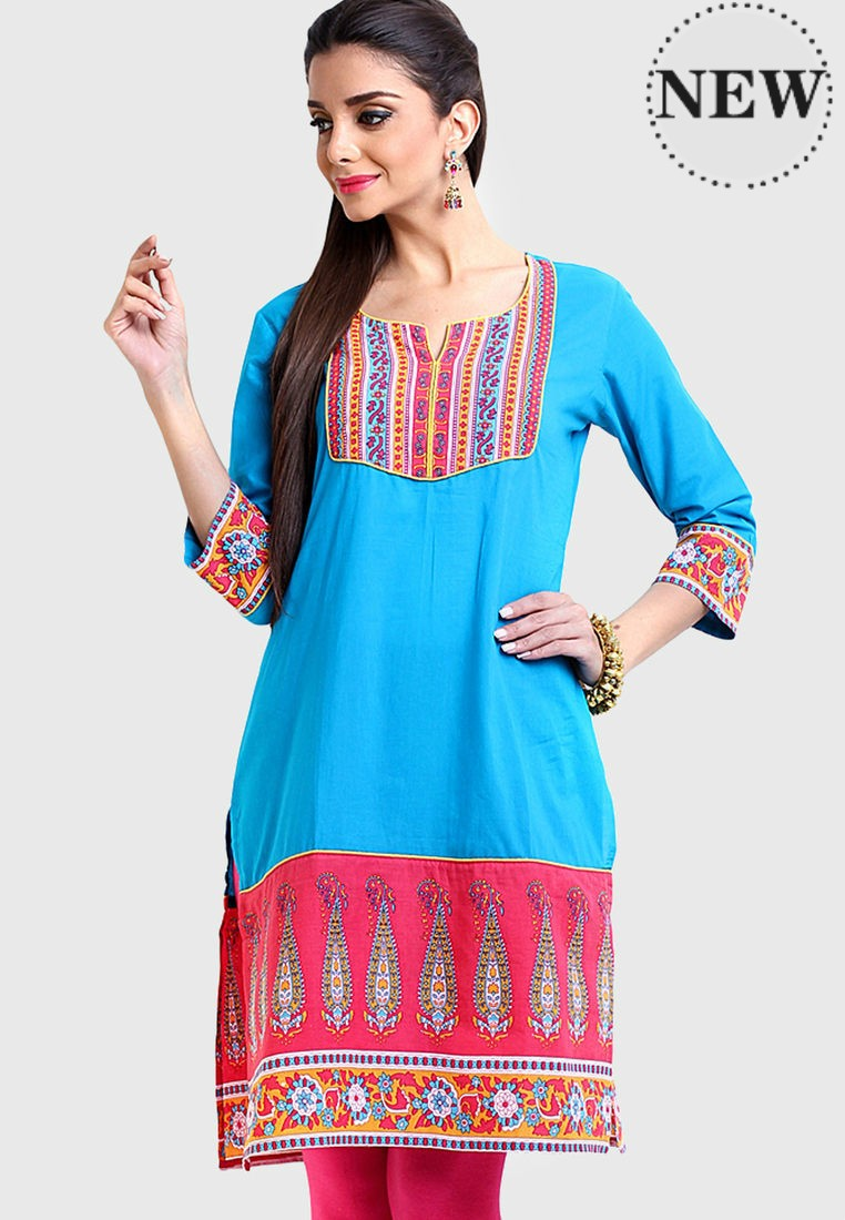 Indian Saree Style Women Slit Tunic Long Tops From Online Retail Store