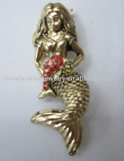 fashion copper mermaid brooch