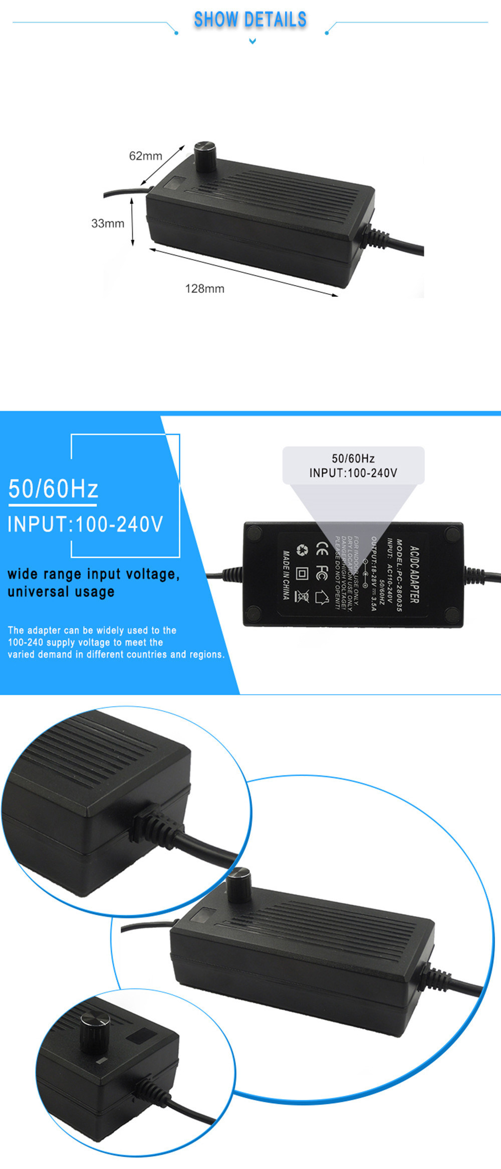 OEM Adjustable voltage power supply 18-28v 3.5a 100w ac dc power adapter for inline fan