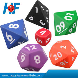 polyhedral dice promotional pu foam stress ball