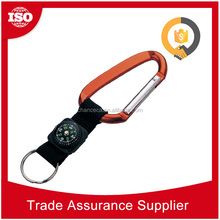 CHD803 Alibaba Gold Supplier New fashion cheap promotional carabiner keychain, lanyard carabiner with compass