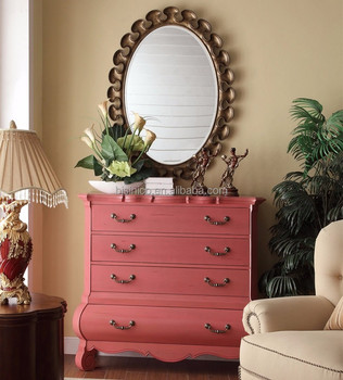 American Provincial Living Room Solid Wood Four Drawers Pink Side Cabinet