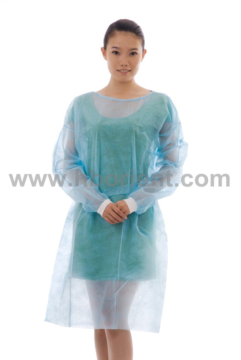 Hospital nonwoven pp pe isoaltion gown with knitted wirst