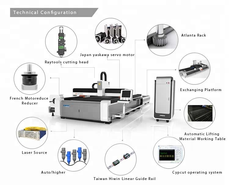 G.WEIKE high speed double table 4KW fiber laser Metal cutter