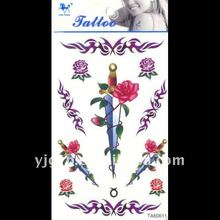 Hot selling! 2011 non-toxic water Transfer sword with rose temporary body tattoo sticker