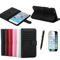 Luxury Braided Stand PU wallet case Leather Case Cover For iPhone 6 4.7''