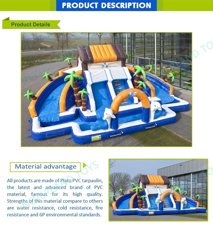 Kid's inflatable bouncy castle with water slide of commerical grade