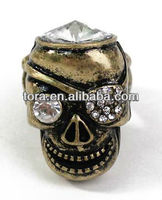 Fashion Bronze Diamond Eye Patched Pirate Skull Stretch Ring skull rings for women